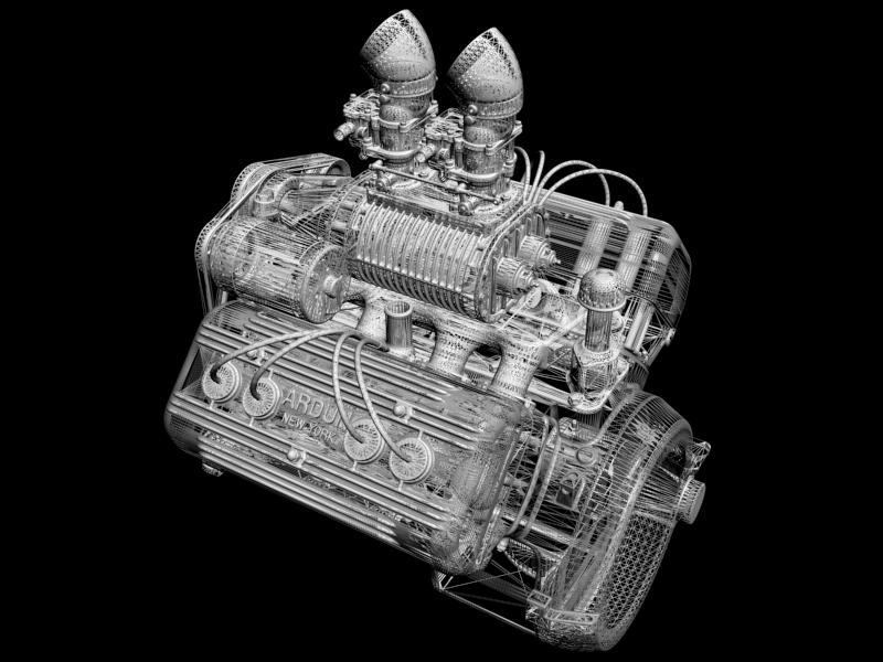ardun s.co.t. blower v8 engine 3d model 3ds 136391