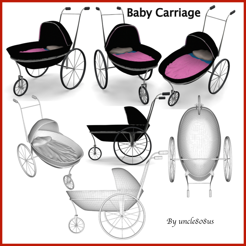 baby carriage 3d model obj 156307