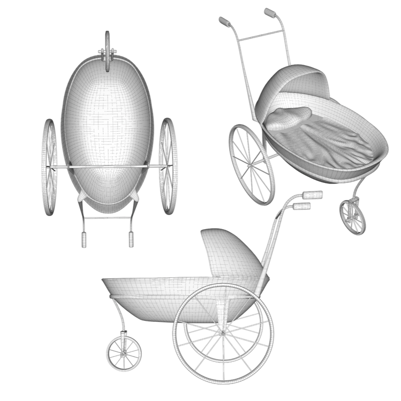 baby carriage 3d model obj 156309