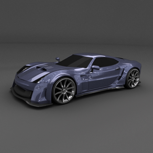 blue racing concept car 3d model 3ds blend dae lwo obj 160687