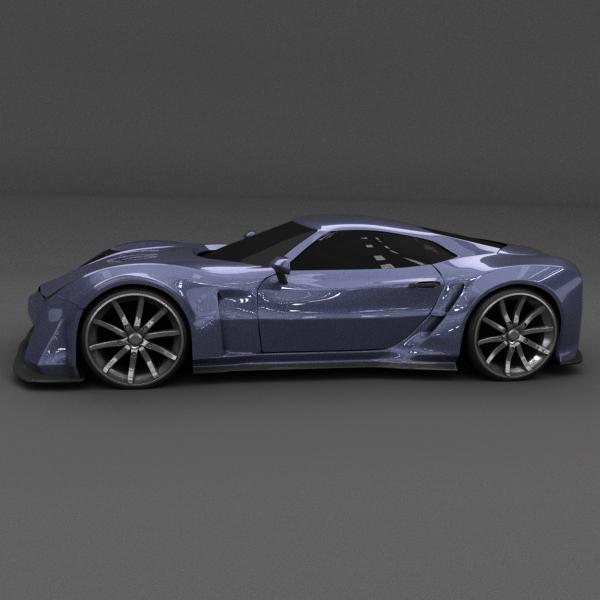 blue racing concept car 3d model 3ds blend dae lwo obj 160688