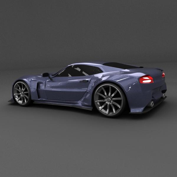 blue racing concept car 3d model 3ds blend dae lwo obj 160689