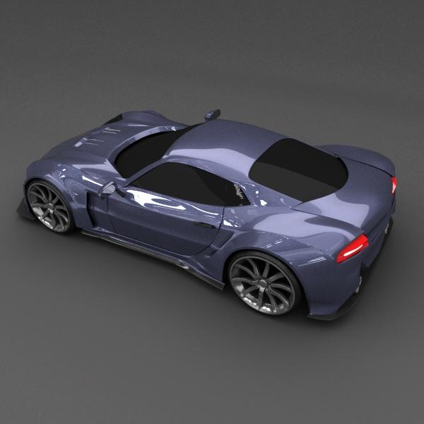 blue racing concept car 3d model 3ds blend dae lwo obj 160690