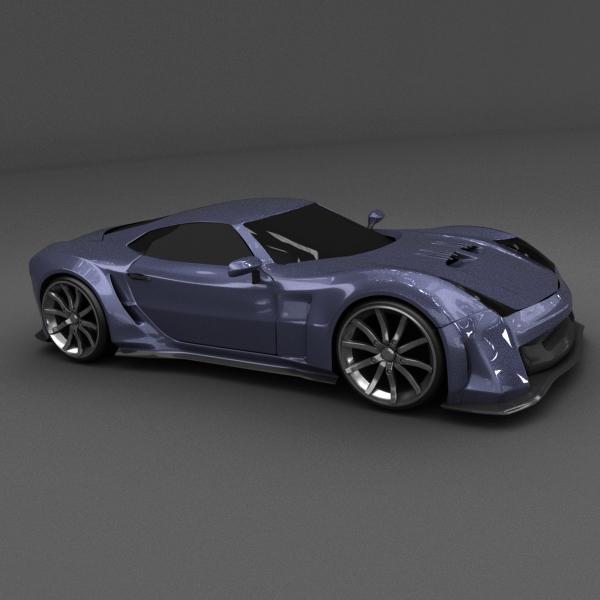 blue racing concept car 3d model 3ds blend dae lwo obj 160692