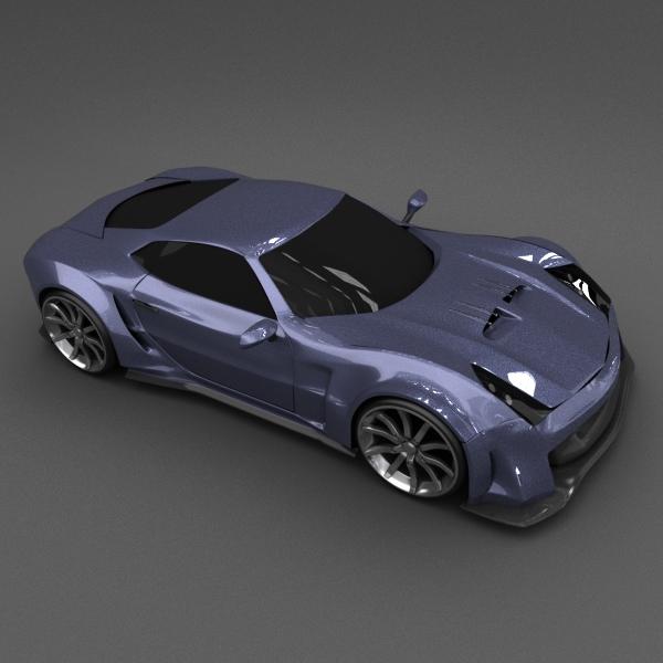 blue racing concept car 3d model 3ds blend dae lwo obj 160693