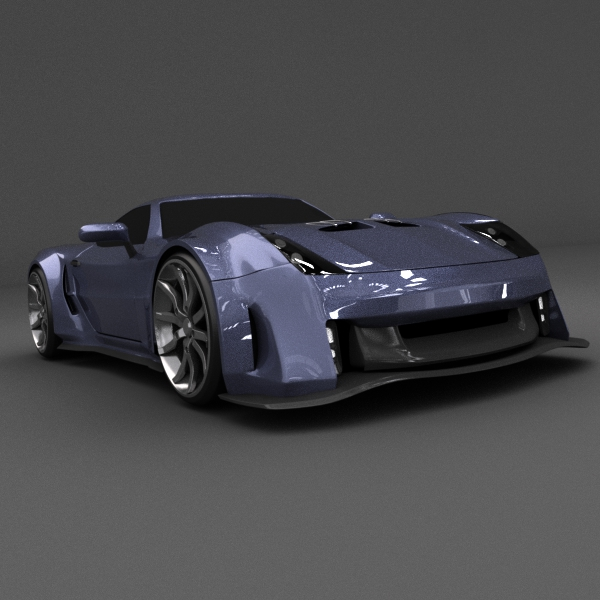 blue racing concept car 3d model 3ds blend dae lwo obj 160694
