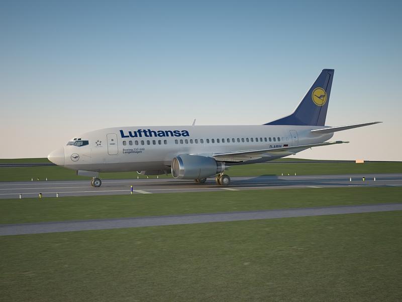 boeing 737 500 lufthansa 3d model max 160000