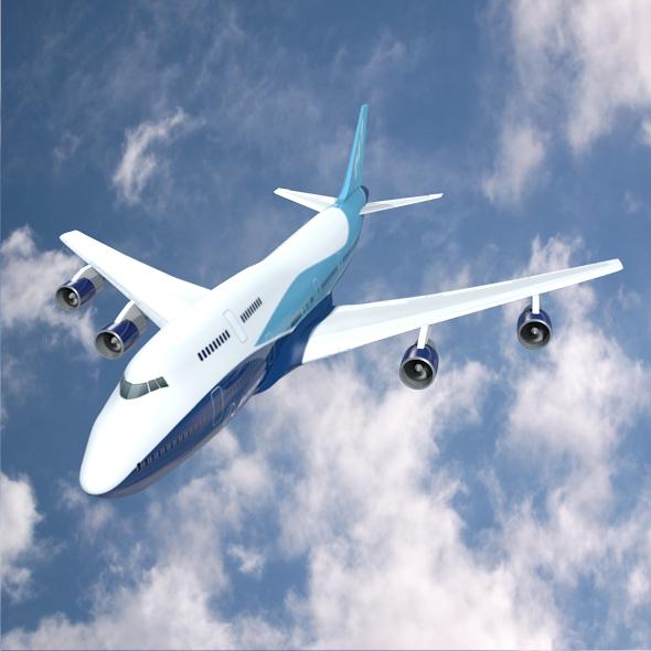 boeing aerlíne 747-300 múnla 3d 3ds fbx blend lwo obj 148767