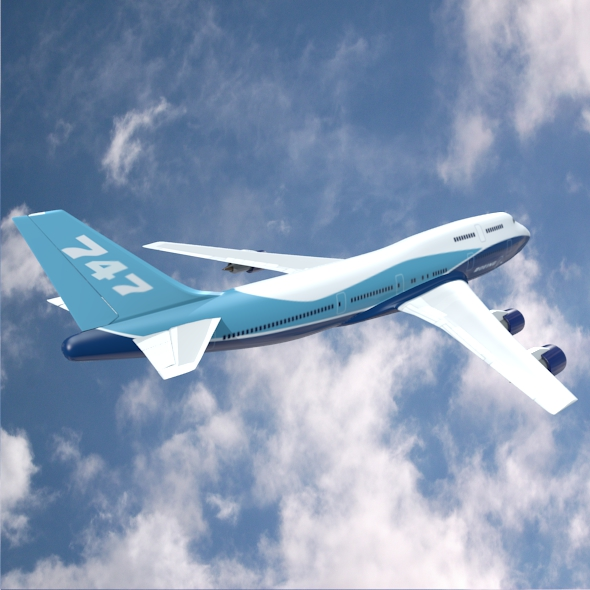 boeing aerlíne 747-300 múnla 3d 3ds fbx blend lwo obj 148769