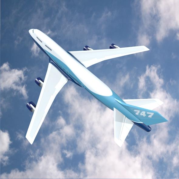 boeing aerlíne 747-300 múnla 3d 3ds fbx blend lwo obj 148770