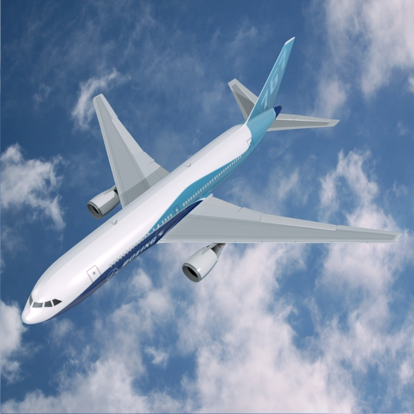 boeing 767-200 commercial airplane 3d model 3ds fbx blend lwo  obj 138406