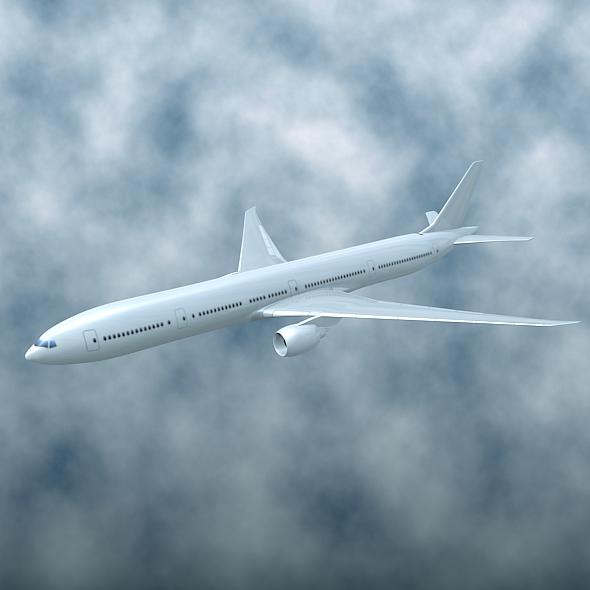 777-300 seriyalı kommersiya təyyarəsi 3d modeli 3ds fbx qarışdırmaqla xnumX
