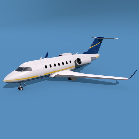 bombardier challenger 600 private jet 3d model 3ds fbx blend dae lwo obj 163704