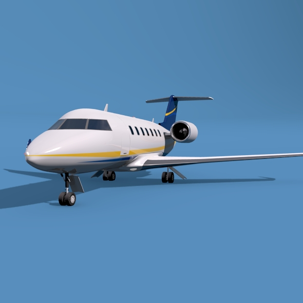 bombardier challenger 600 private jet 3d model 3ds fbx blend dae lwo obj 163707