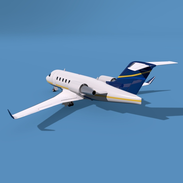 bombardier challenger 600 private jet 3d model 3ds fbx blend dae lwo obj 163711