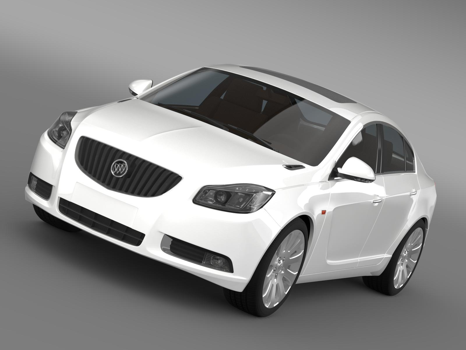 buick regal flexfuel 2011-2013 3d model 3ds max fbx c4d lwo ma mb hrc xsi