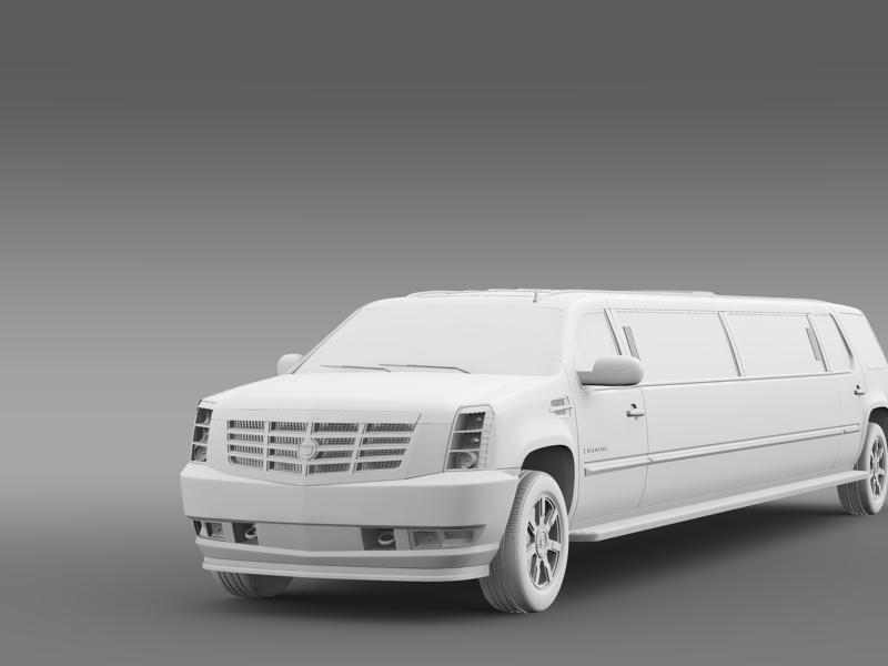 cadillac escalade limo 3d model 3ds max fbx c4d lwo ma mb hrc xsi obj 150204