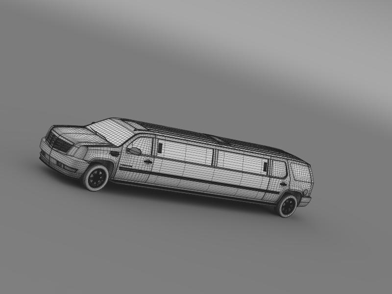 cadillac escalade limo 3d model 3ds max fbx c4d lwo ma mb hrc xsi obj 150206
