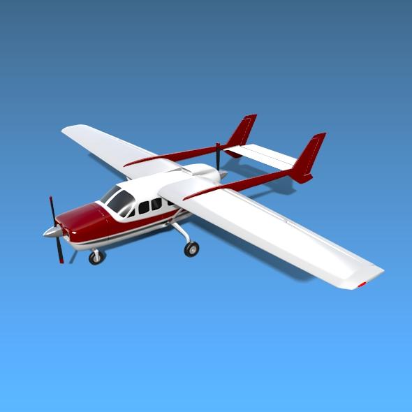Cessna Skymaster skrúfuflugvélar 3d líkan 3ds fbx blend dagen lwo obj 162705