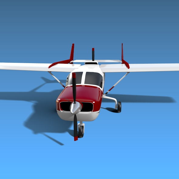Cessna Skymaster skrúfuflugvélar 3d líkan 3ds fbx blend dagen lwo obj 162706