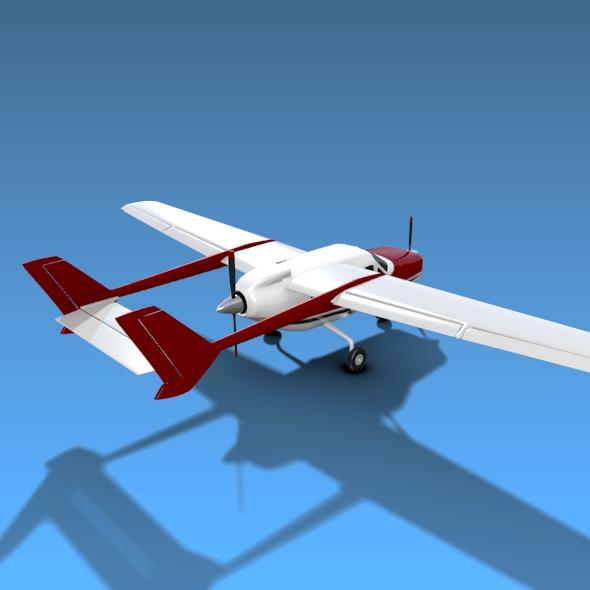 Cessna Skymaster skrúfuflugvélar 3d líkan 3ds fbx blend dagen lwo obj 162707
