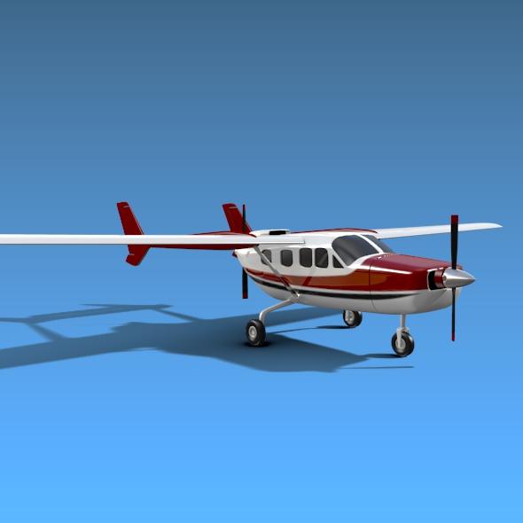 Cessna Skymaster skrúfuflugvélar 3d líkan 3ds fbx blend dagen lwo obj 162708