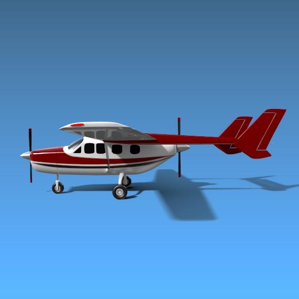 Cessna Skymaster skrúfuflugvélar 3d líkan 3ds fbx blend dagen lwo obj 162710