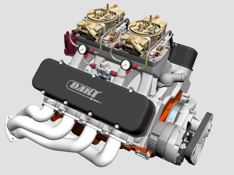 chevrolet big block tunel-ram v8 motor 3d model 3ds 140662