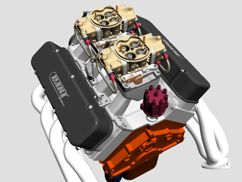 chevrolet big block tunnel-ram v8 engine 3d model 3ds 140663