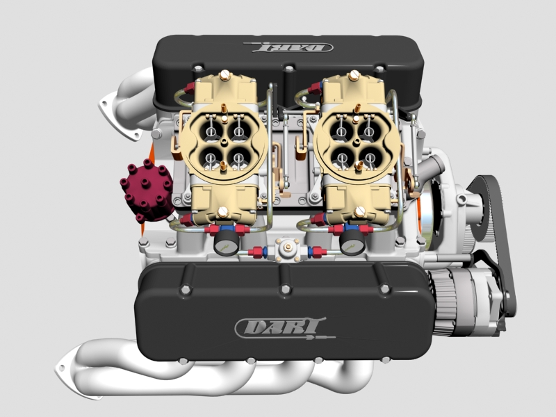chevrolet big block tunnel-ram v8 engine 3d model 3ds 140664