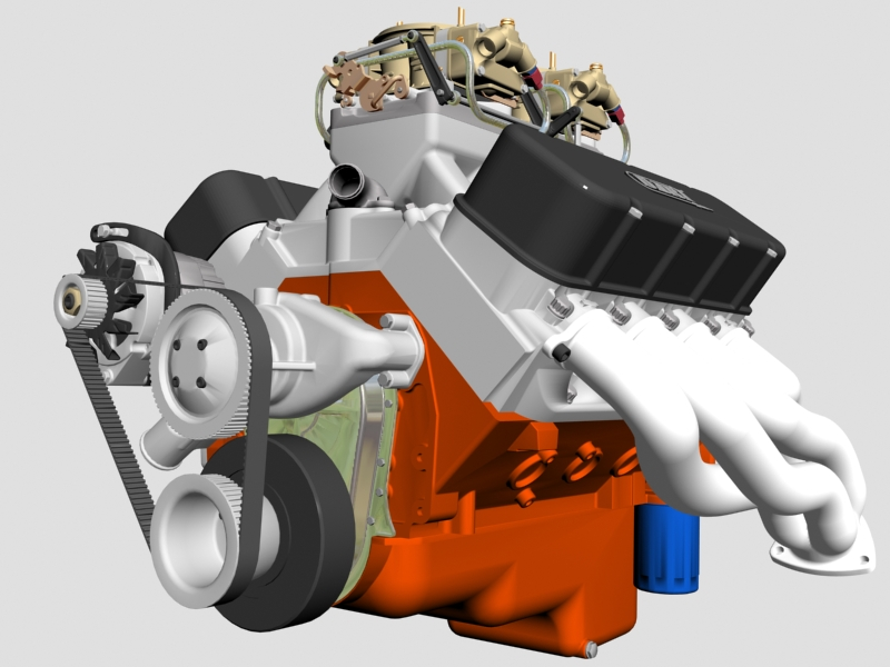 chevrolet big block tunnel-ram v8 engine 3d model 3ds 140665