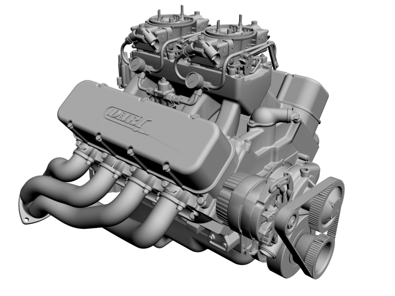 chevrolet big block tunnel-ram v8 engine 3d model 3ds 140667