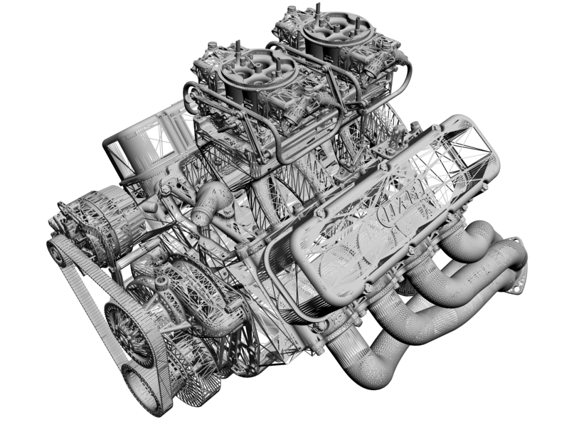 chevrolet big block tunnel-ram v8 engine 3d model 3ds 140672
