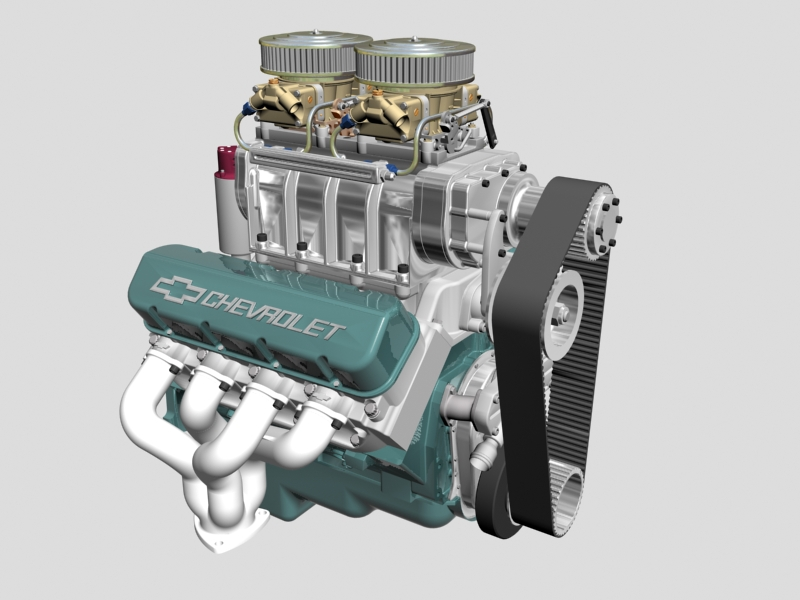 chevrolet big block v8 engine with blower 3d model 3ds 140860