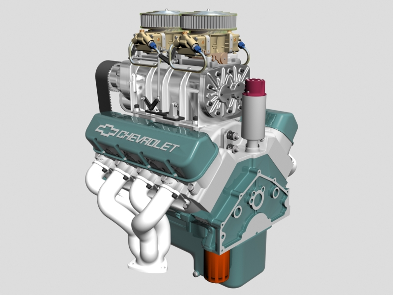 chevrolet big block v8 engine with blower 3d model 3ds 140861