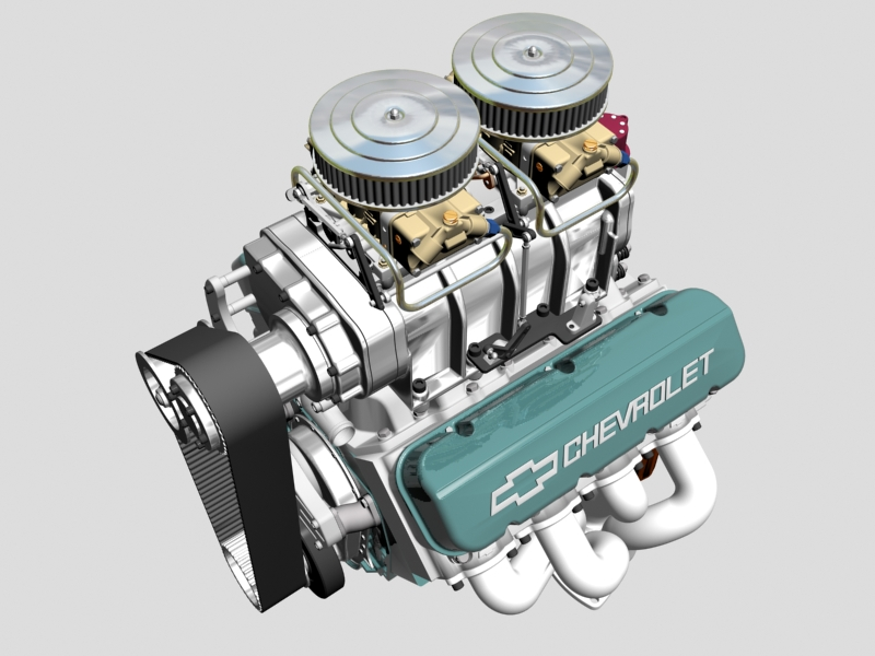 chevrolet big block v8 engine with blower 3d model 3ds 140862