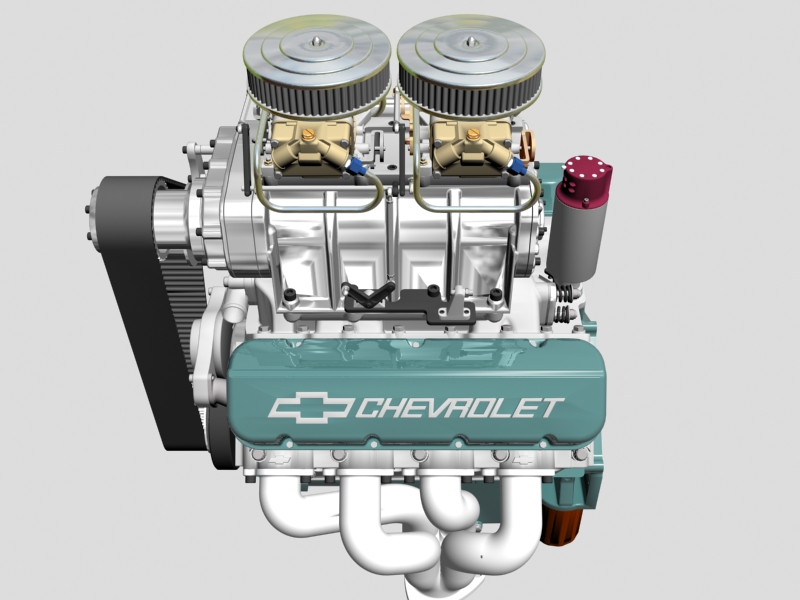 chevrolet big block v8 engine with blower 3d model 3ds 140863