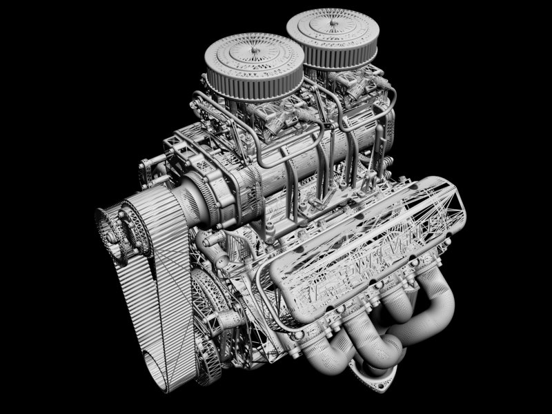 chevrolet big block v8 engine with blower 3d model 3ds 140867
