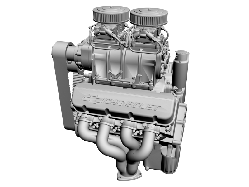 chevrolet big block v8 engine with blower 3d model 3ds 140868