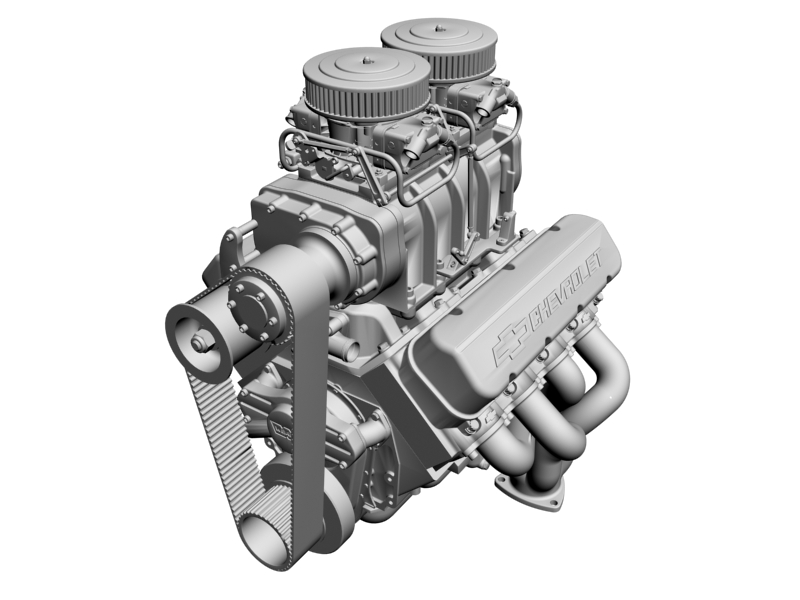chevrolet big block v8 engine with blower 3d model 3ds 140869