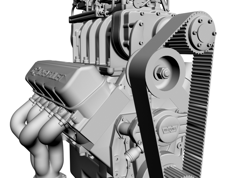 chevrolet big block v8 engine with blower 3d model 3ds 140870