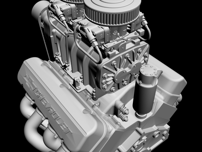 chevrolet big block v8 engine with blower 3d model 3ds 140871