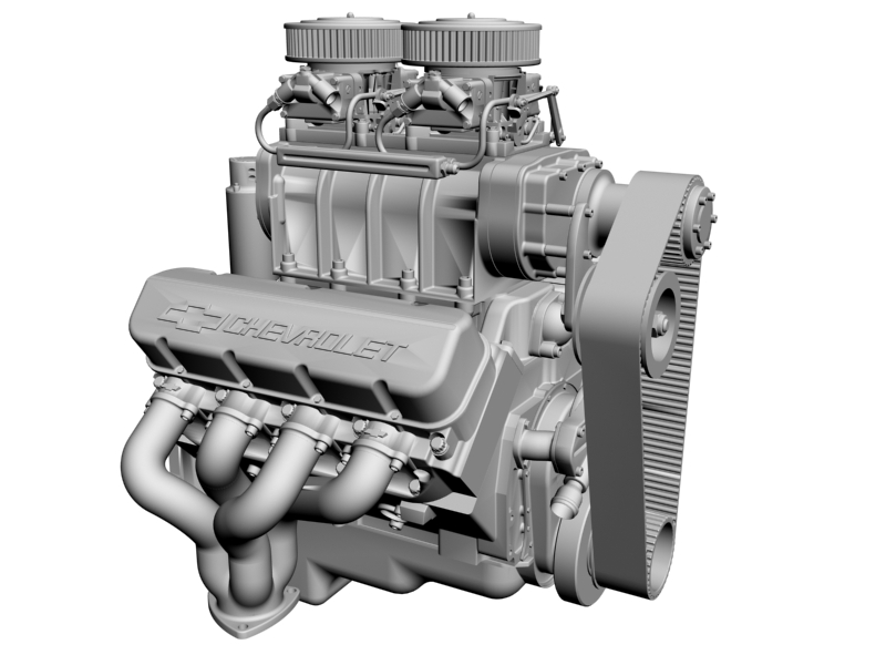 chevrolet big block v8 engine with blower 3d model 3ds 140872