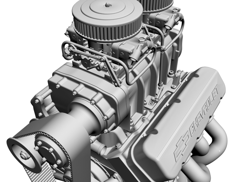 chevrolet big block v8 engine with blower 3d model 3ds 140873