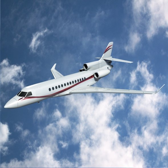 dassault falcon 7x private business jet 3d model 3ds fbx blend dae lwo obj 162963