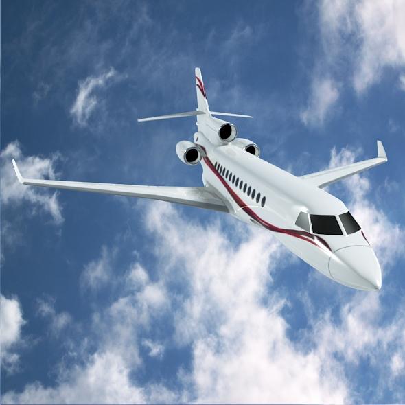 dassault falcon 7x private business jet 3d model 3ds fbx blend dae lwo obj 162971
