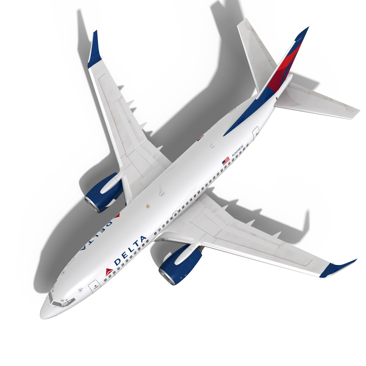 Delta Airlines Boeing 737-700w 3d Model