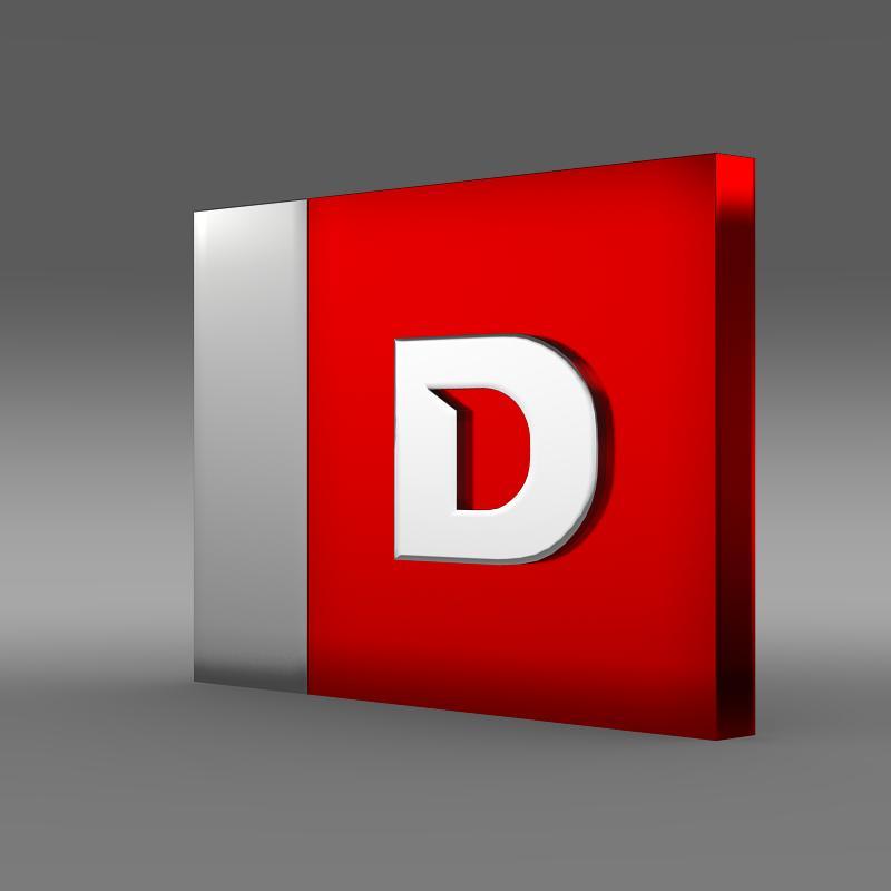 derbi one letter 3d logo 3d model 3ds max fbx c4d lwo ma mb hrc xsi obj 150251