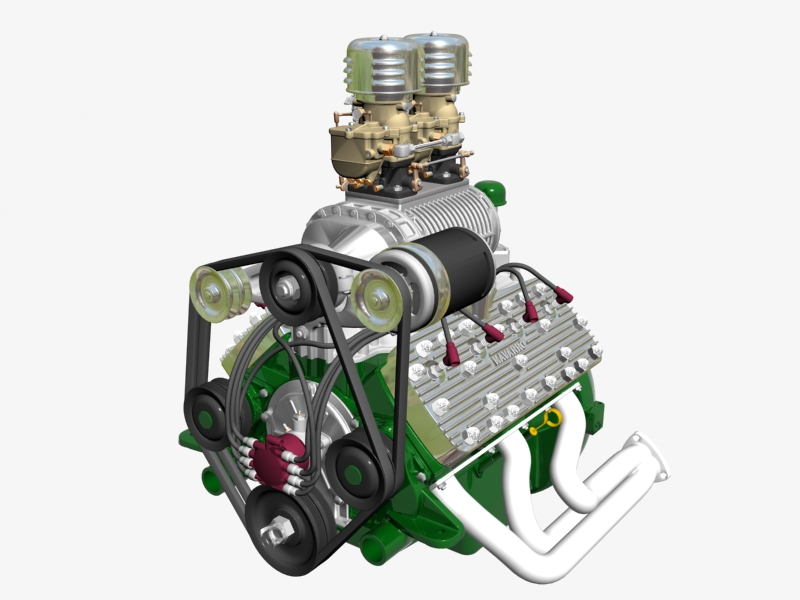 flathead awal dengan s.co.t. blower v8 engine 3d model 3ds 138386