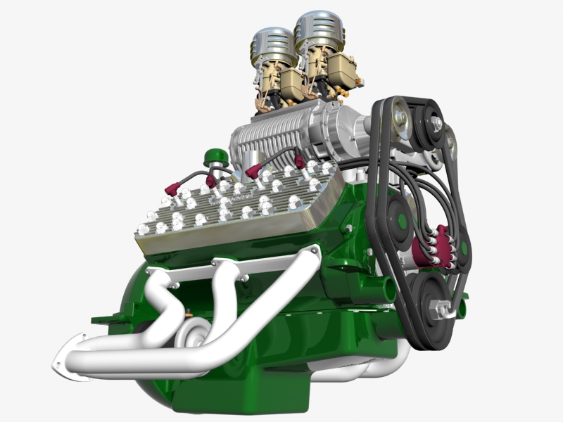 early flathead with s.co.t. blower v8 engine 3d model 3ds 138389